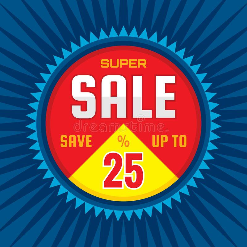 Super sale - concept banner vector illustration. Discount save up to 25%. Graphic layout. Abstract background royalty free illustration