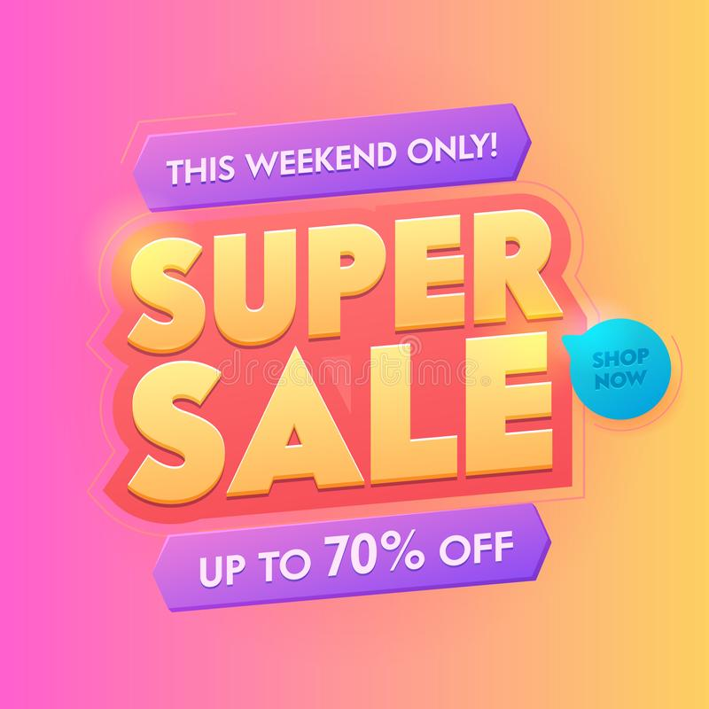 Super Sale 3d Golden Typography Badge. Deal Promotion Trendy Gradient Poster Design. Advertising Digital Campaign stock illustration