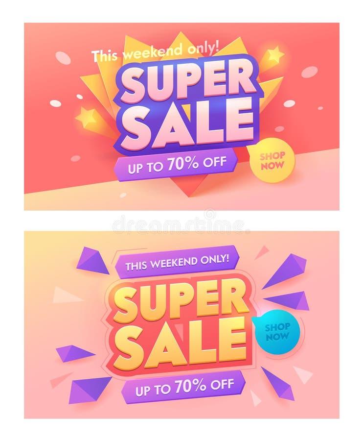 Super Sale 3d Typography Pink Banner Set. Promotion Discount Price Offer Poster Design. Advertising Digital Marketing vector illustration