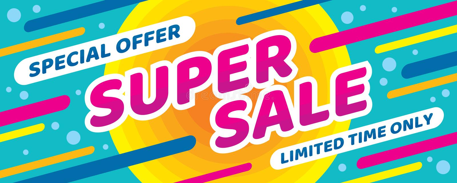 Super sale discount - vector layout concept illustration. Abstract horizontal advertising promotion banner. Special offer. Limited royalty free illustration