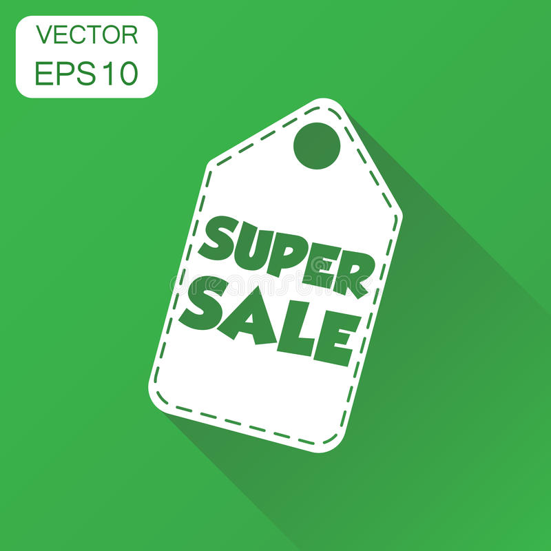 Super sale hang tag icon. Business concept sale shopping pictogram. Vector illustration on green background with long shadow. stock illustration