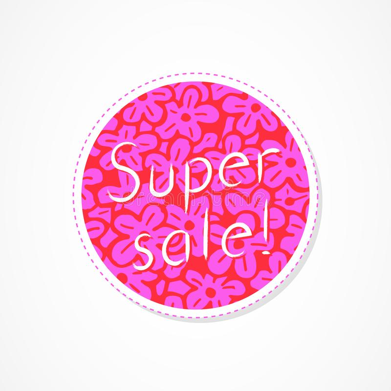 Super sale inscription on decorative round backgrounds with floral pattern. Hand drawn lettering. Vector illustration vector illustration