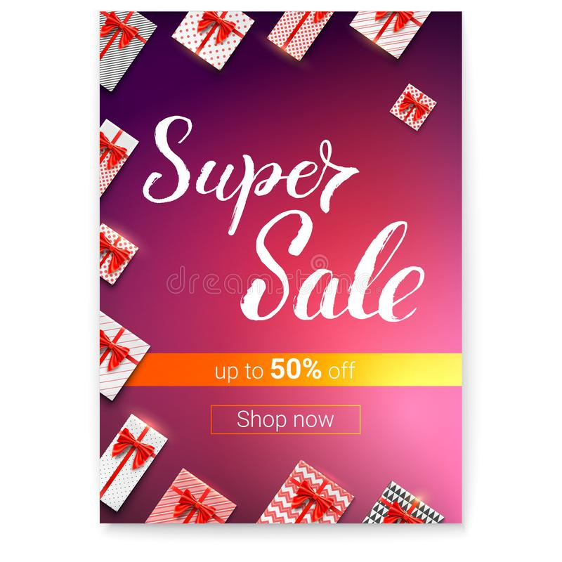 Super Sale with lots of gifts. Gift boxes with red ribbons and bows wrapped in papers. Handwritten lettering. Great vector illustration