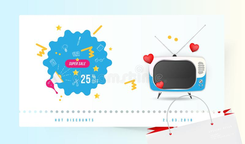 Super sale 25 off. The concept for big discounts with doodle icon, a retro TV and red hearts on a light background. Flat vector il. Lustration EPS10 royalty free illustration