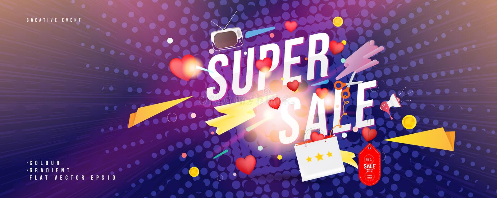 Super sale of 25 off. The concept for big discounts with voluminous text, a retro TV and red hearts on comic book background with. Light effects. Flat vector royalty free illustration