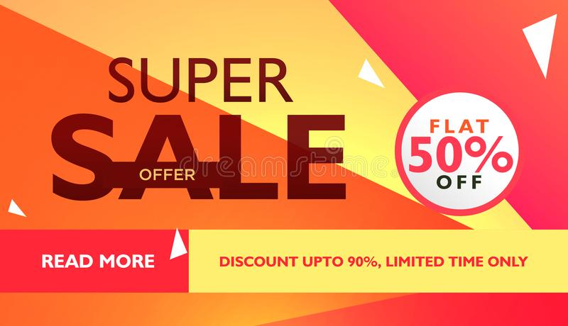 super sale offer template for advertising with geometric colorful shapes stock illustration