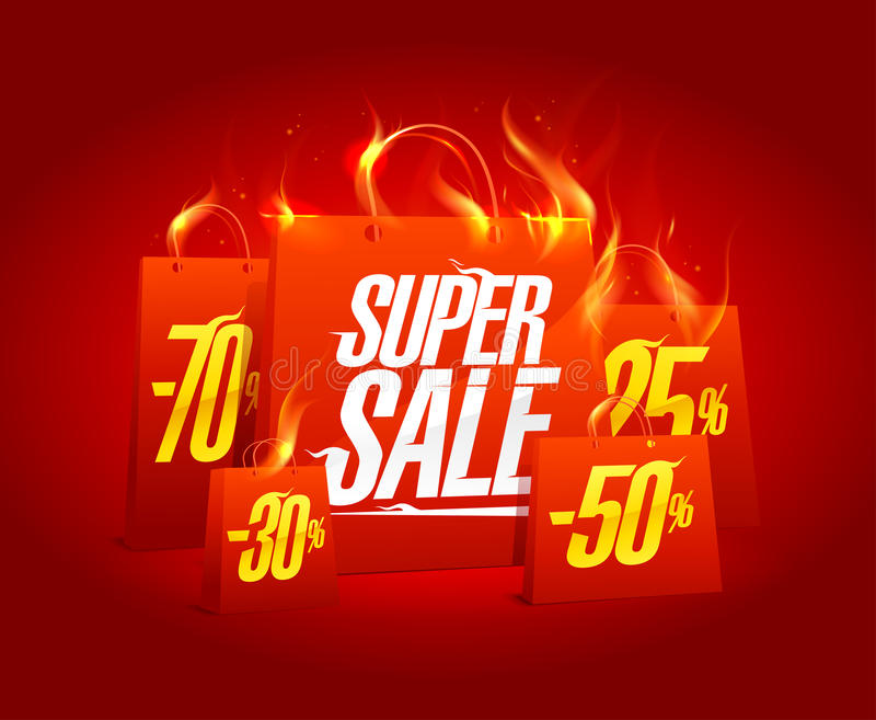 Super sale poster banner with red burning paper shopping bags. Clearance coupon vector design royalty free illustration