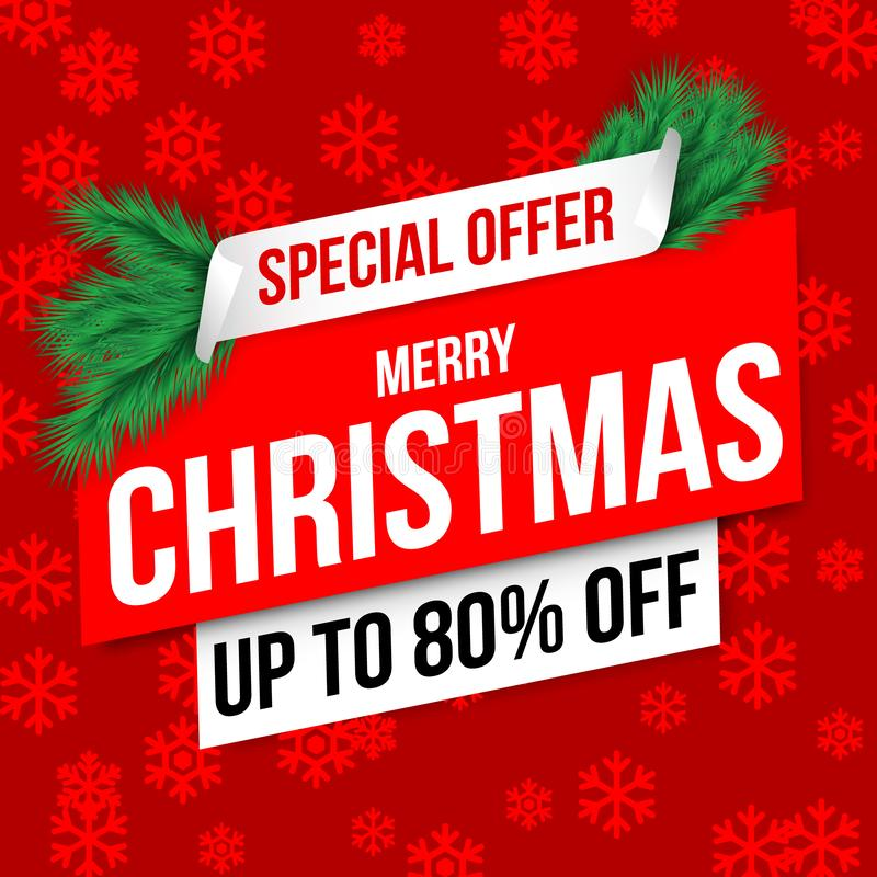 Christmas Sale banner red. Vector illustration stock photo