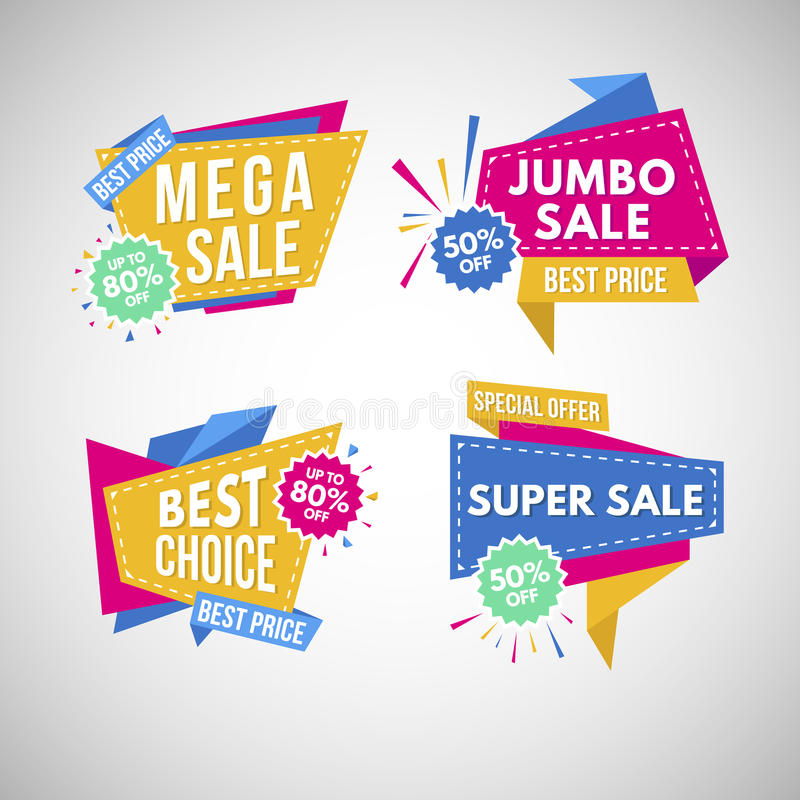 Super sale stickers. Vector Illustration. stock images
