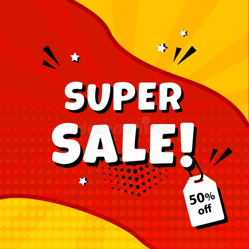 Super sale. Template banner promotion with price tag, discount. Comic sound effects in pop art style. Vector. Illustration stock illustration