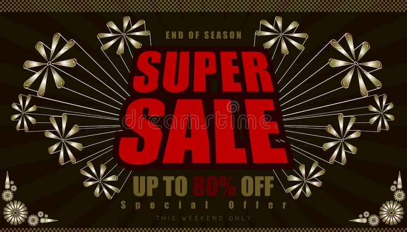 Super sale up to 80% end of year special offer. vintage retro element firework explode from center. vector illustration eps10. Super sale up to 80% end of year vector illustration