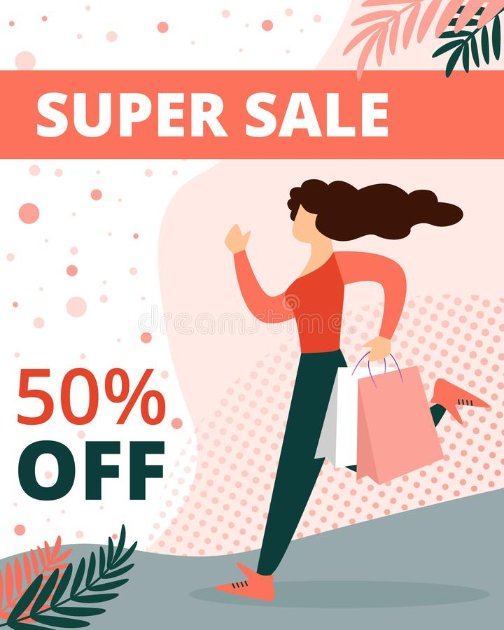 Super Sale Vertical Banner. Woman in Casual Dress. Super Sale Vertical Banner. Young Woman in Casual Dress Running with Paper Shopping Bags in Hands. Holiday stock illustration