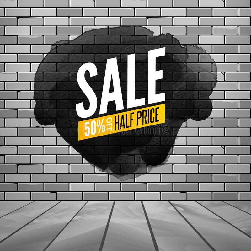 Super sale wall poster. Grunge sale background for store, shop. Promotion discount vector design poster with ink spot vector illustration