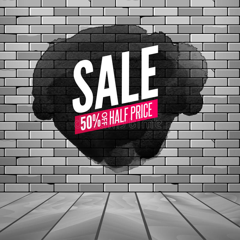 Super sale wall poster. Grunge sale background for store, shop. Promotion discount vector design poster with ink spot royalty free illustration
