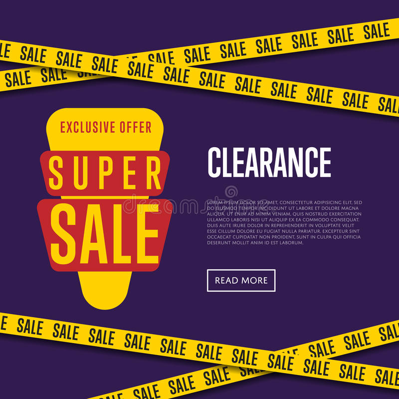 Super sale website template with text royalty free illustration