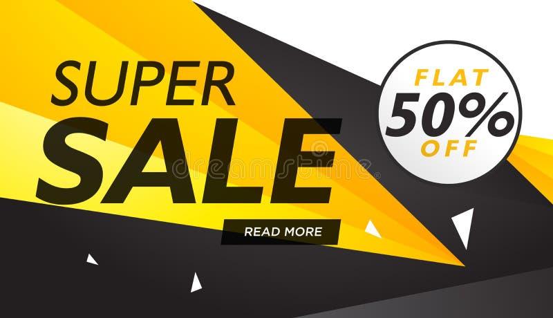 Super sale yellow and black voucher design template stock illustration