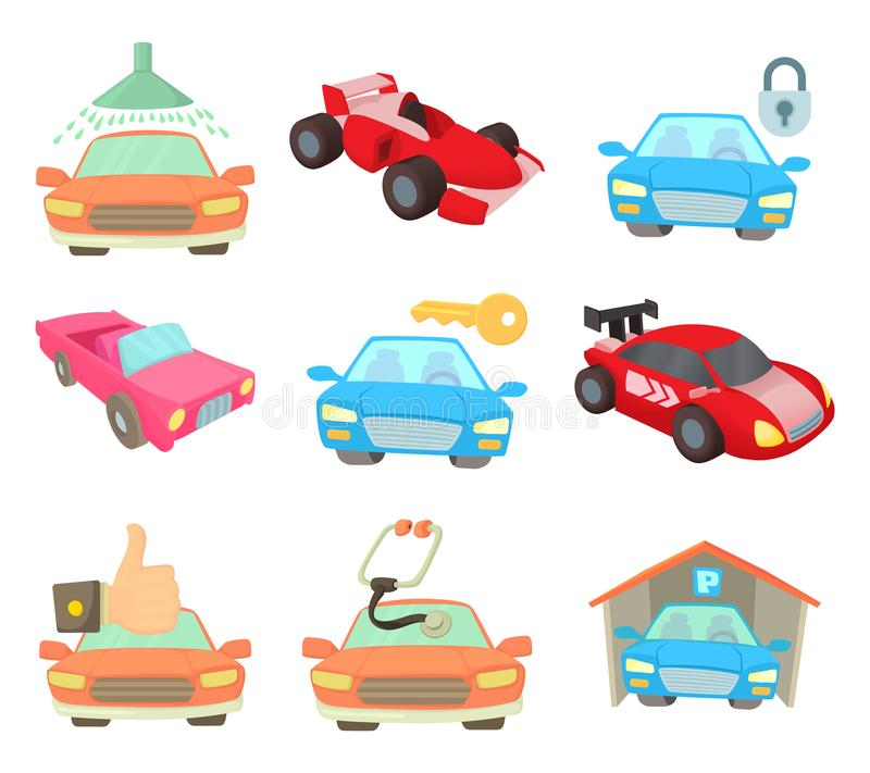 Super samochodowy ikona set, kreskówka styl ilustracji