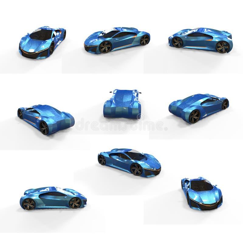 Super samochodu 3d renderingu pakunek ilustracja wektor