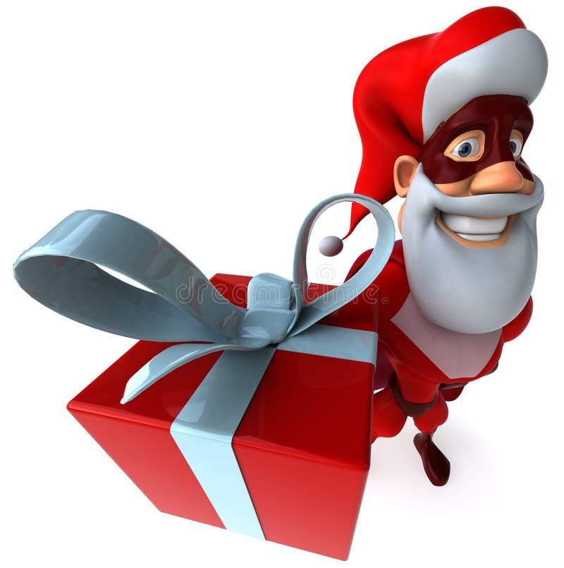 Super Santa Claus. Fun superhero, ready to save the world stock illustration