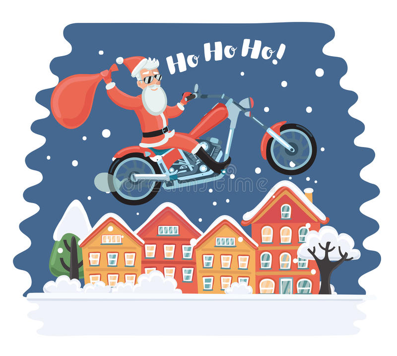 Super Santa Claus coming from sky with christmas presents. All elements are layered and grouped in vector file. stock illustration