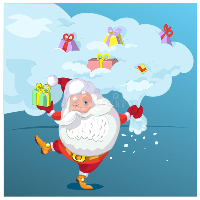 Super Santa Claus coming from sky with christmas presents. stock illustration
