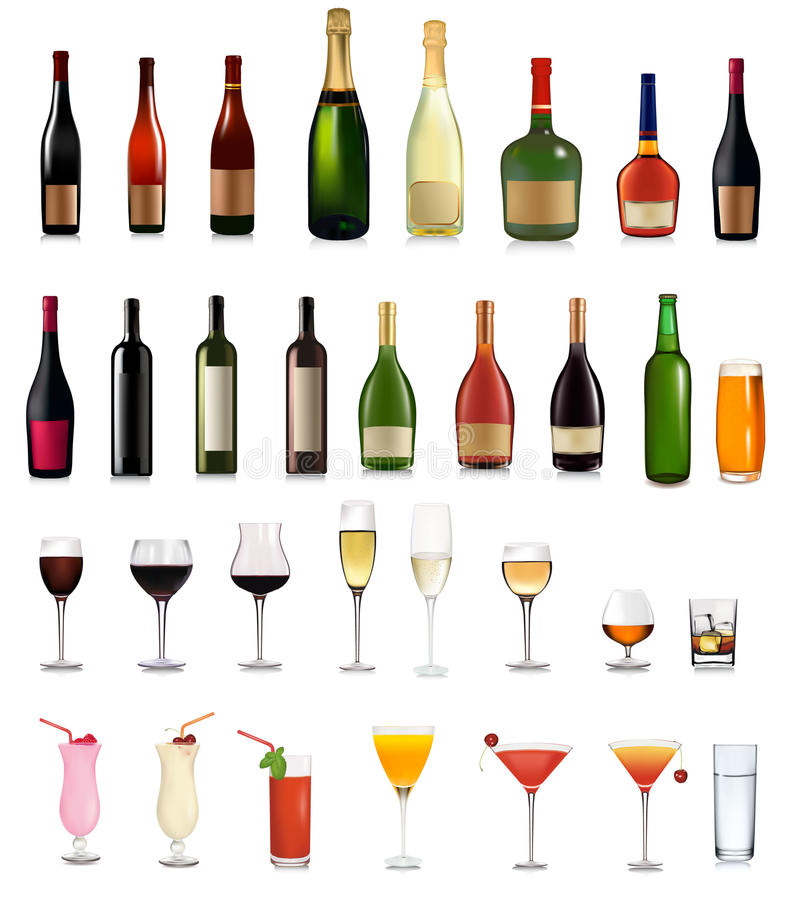 Download Super Set Of Different Bottles Drinks And Cocktail Stock Vector - Image: 18163268