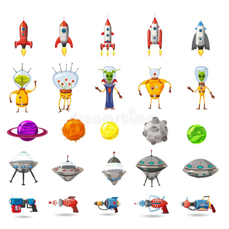 Free Super Set Of Space, Planets, Ufo, Rockets, Aliens, Blasters, For Games, Applications, Advertisements, Posters, Animation Stock Photography - 121021672