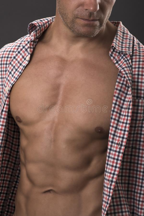 Super male abs and torso stock image