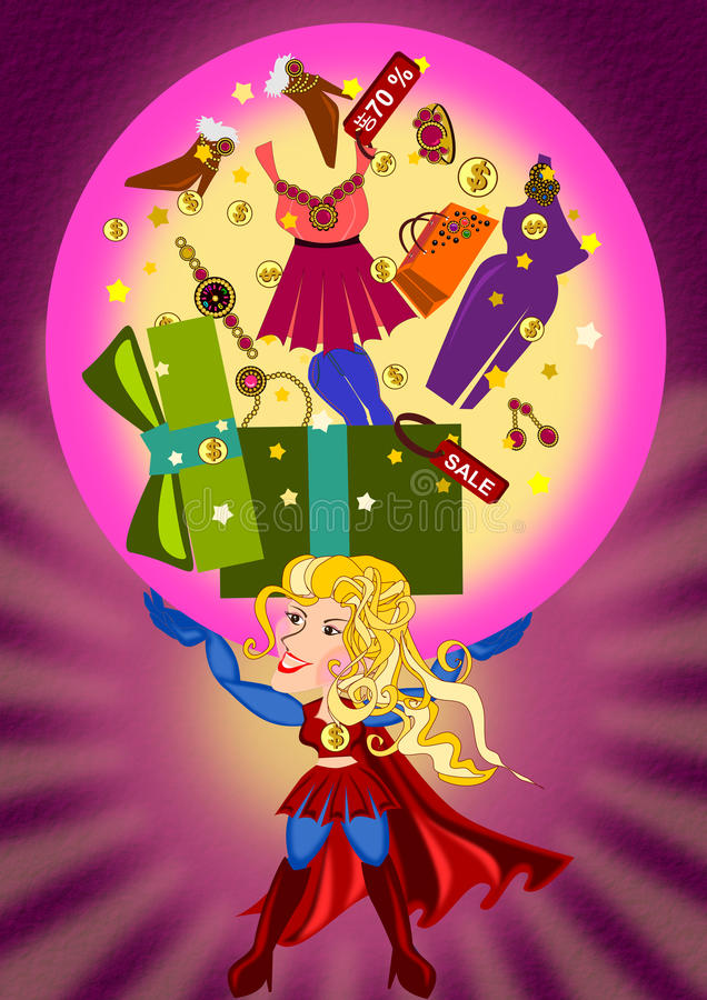 Super Shopping. Super woman lifting shopping stuffs illustration
