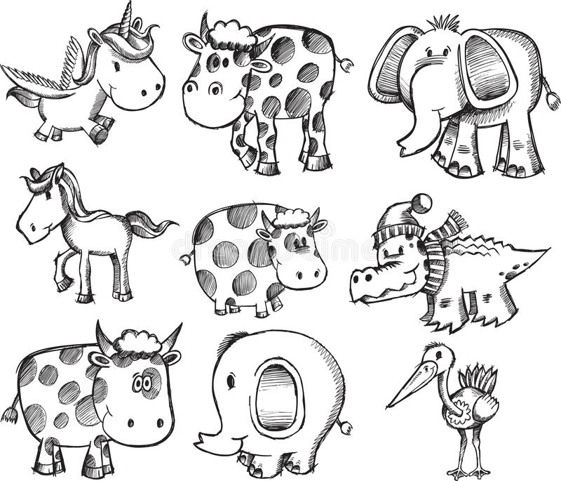 Super Sketch Animal Set royalty free illustration