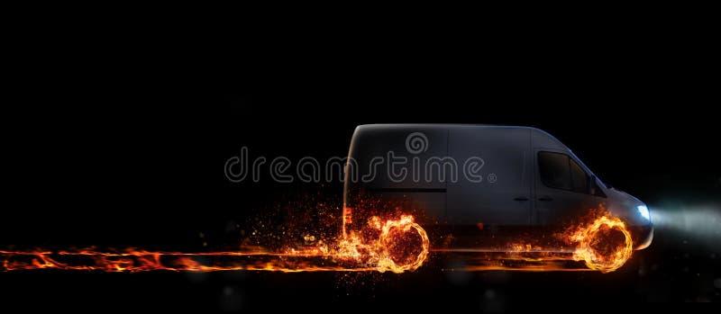 Super snelle levering van de pakketdienst met bestelwagen met wielen op brand het 3d teruggeven vector illustratie
