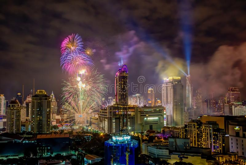 Super Sonic Firework Celebration show on January1,2018 during Bangkok Countdown 2018 at CentralWorld Square,Ratchaprasong Intersec royalty free stock photos