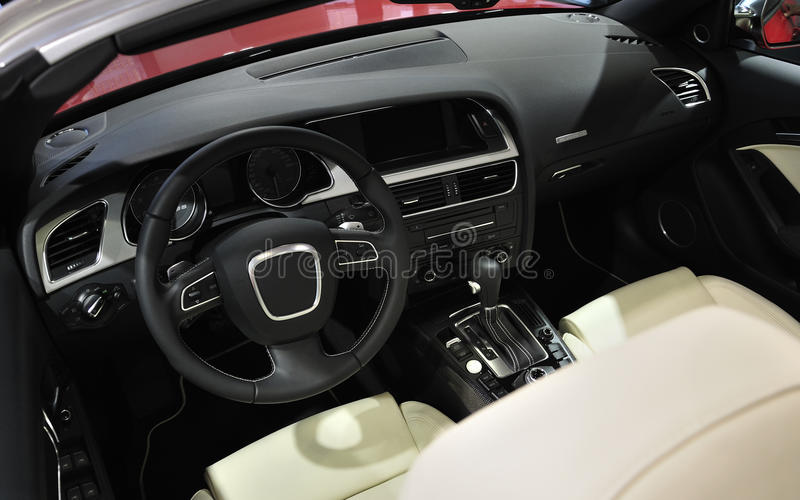 Super Sport Car Interior. A Red Super Sport Car Interior stock image