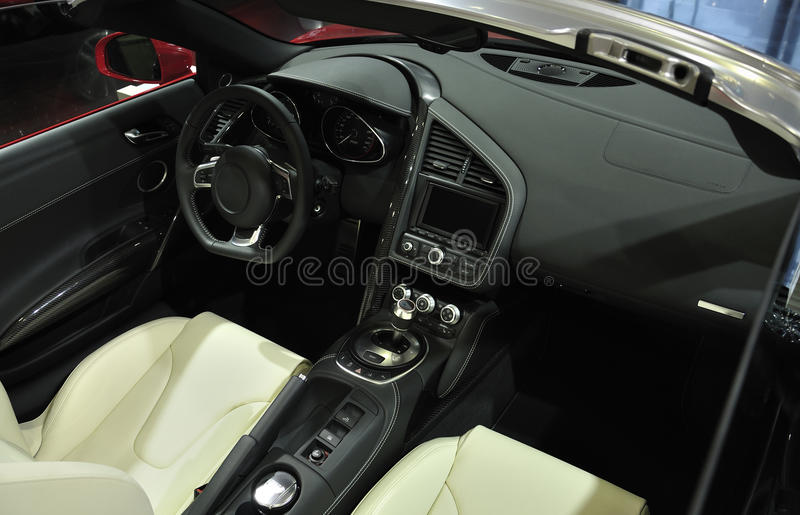 Super Sport Car Interior. A Black Super Sport Car Interior royalty free stock image