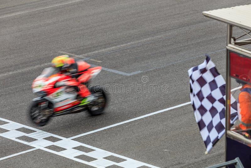 Super sporta motocykl krzyżuje metę obrazy royalty free