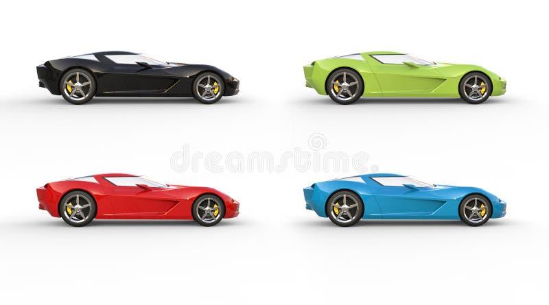 Super sporta pojęcia samochody w czerwieni, zieleni, błękicie i czerni, royalty ilustracja