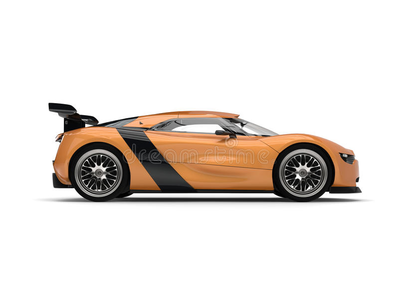 download super sports car gold leaf paint side view stock image