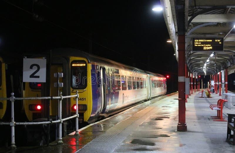 Super sprinter dmu train at Lancaster at night stock photos