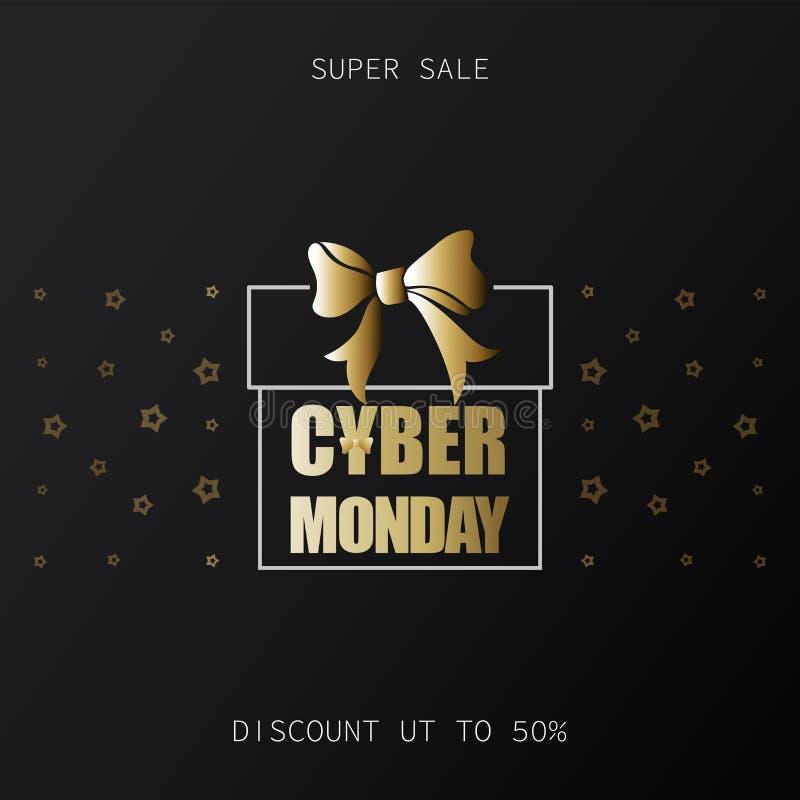 Super sprzedaż Cyber Poniedziałek Rabat do 50% Złocisty prezenta opakunek royalty ilustracja