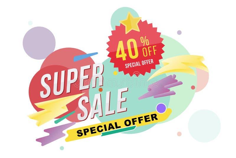 Super sprzedaż 40 procentów rabata ulotka i plakat Szablon dla plakata, ulotki i sztandaru na colour tle projekta, mieszkanie il royalty ilustracja