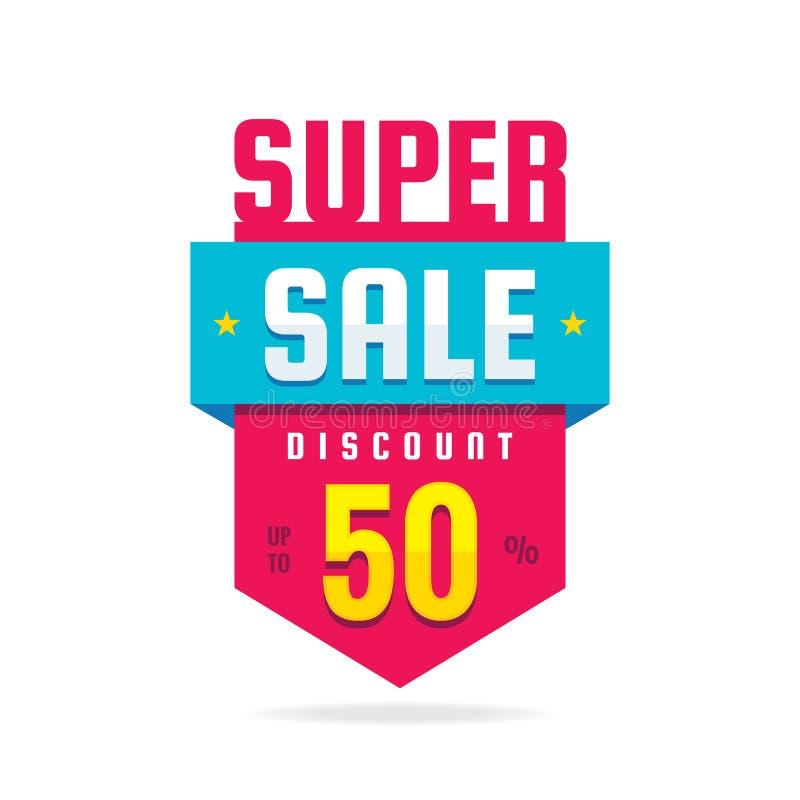 Super sprzedaż rabat do 50% - pojęcie sztandaru wektoru ilustracja Specjalnej oferty abstrakcjonistyczna pionowo odznaka Promocyj royalty ilustracja
