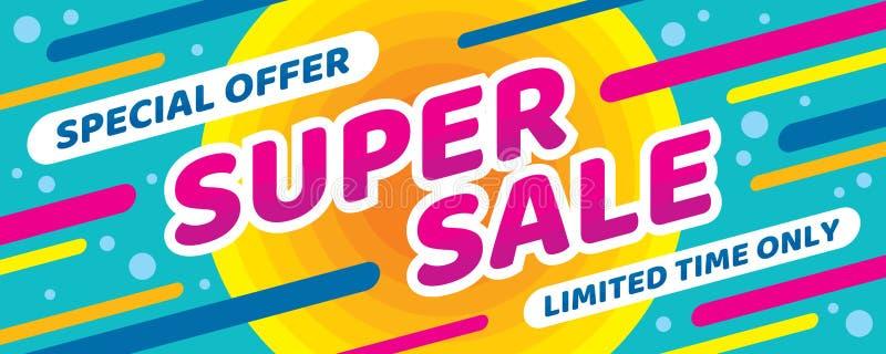 Super sprzedaż rabat - wektorowa układu pojęcia ilustracja Abstrakcjonistyczny horyzontalny reklamowy promocyjny sztandar Specjal royalty ilustracja