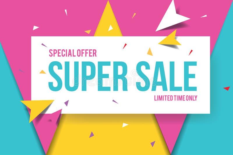 Super sprzedaż sztandaru szablon Sprzedaż sztandaru projekt Abstrakcjonistyczny sprzedaż sztandar royalty ilustracja