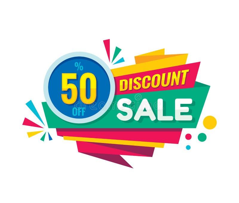 Super sprzedaż - wektorowa kreatywnie sztandar ilustracja Abstrakcjonistyczny pojęcie rabata 50% promocyjny układ na białym tle m ilustracja wektor