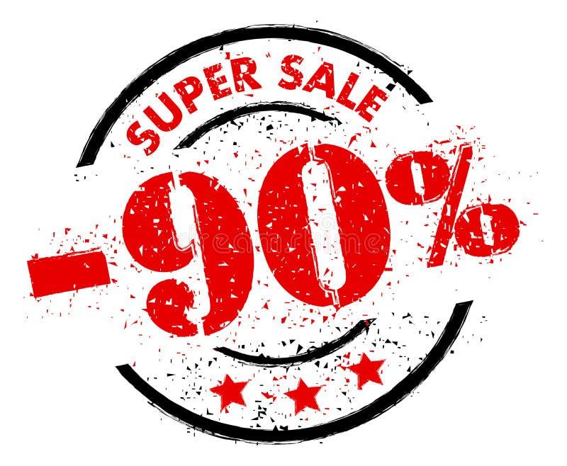 SUPER sprzedaż 90% Z pieczątki grunge stylu royalty ilustracja