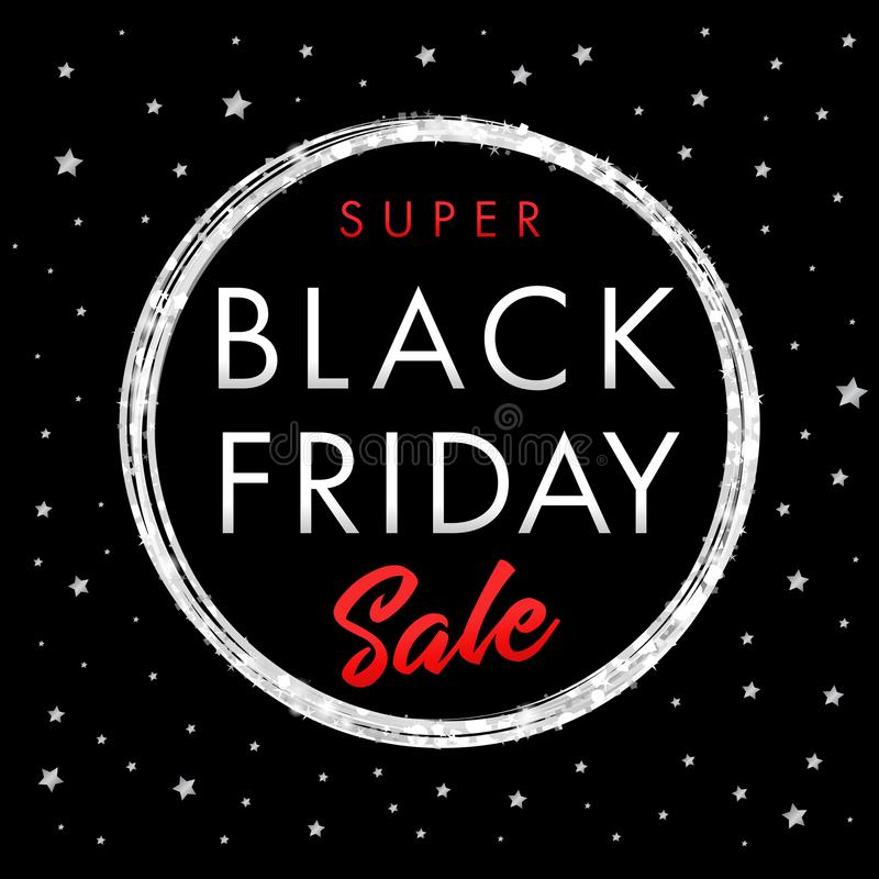 Super sprzedaży Black Friday gwiazdy sztandar ilustracji