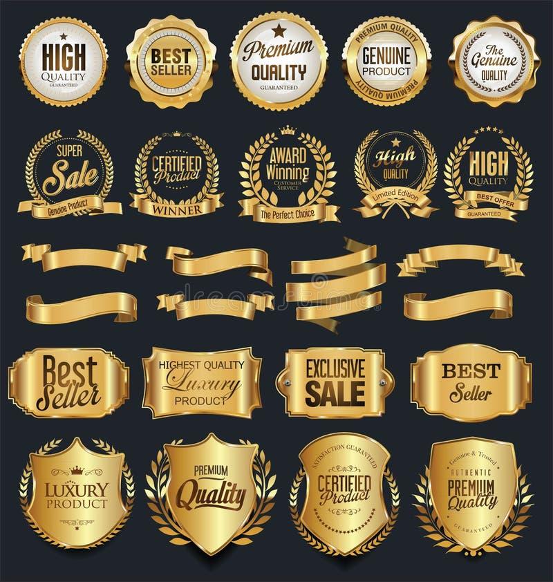 Super sprzedaży etykietek i odznak wektoru retro złota kolekcja ilustracji