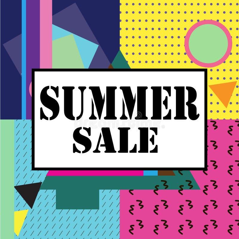 Super sprzedaży nowożytny sztandar w Memphis stylu Szablon sprzedaż wielka wyprzedaż ilustracji