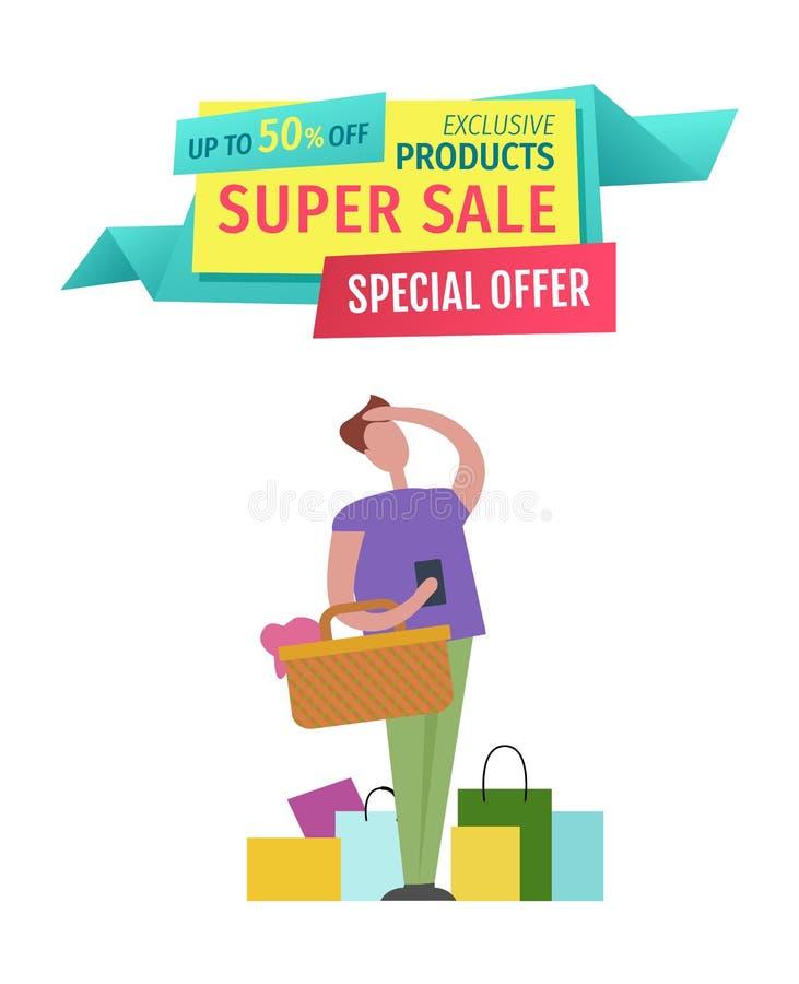 Super sprzedaży oferty specjalnej mężczyzny wektoru ilustracja ilustracja wektor
