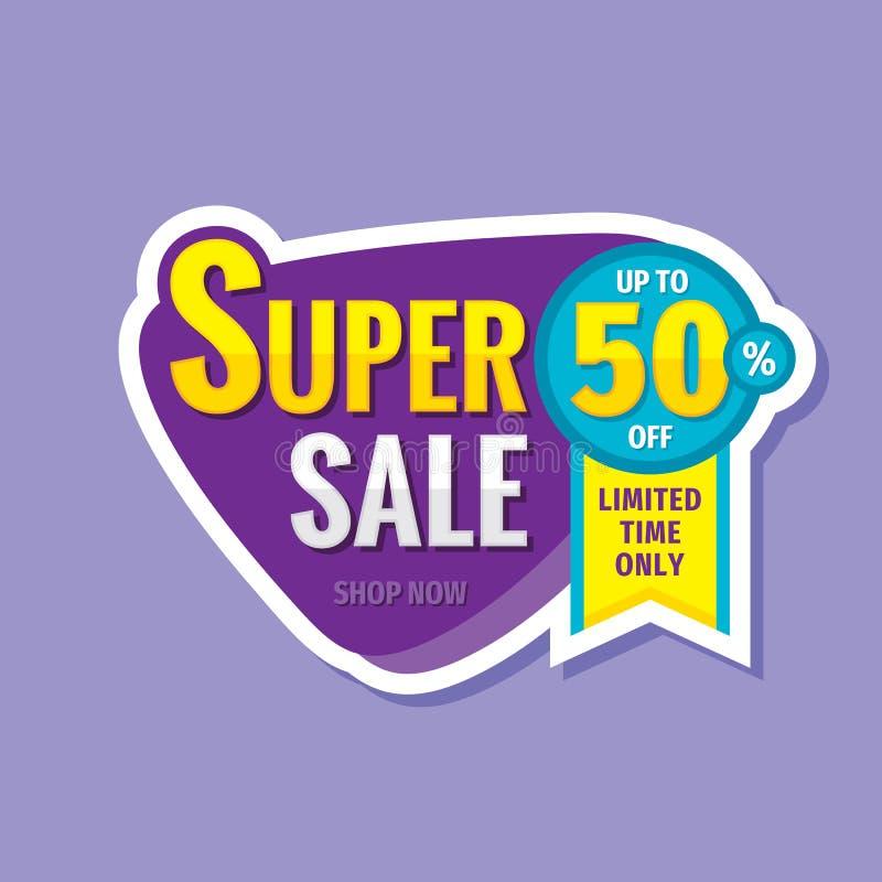 Super sprzedaży pojęcia sztandar Promocyjny plakat Rabat do 50% z kreatywnie majcheru emblemata Specjalnej oferty etykietka Limit ilustracji
